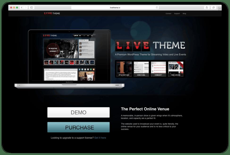 Live Theme Landing Page